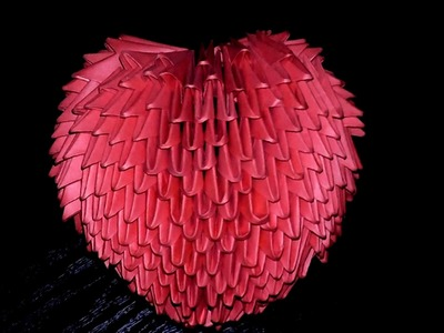 3D origami valentine 3D heart volume tutorial (instruction)