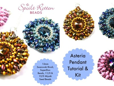 Asteria Pendant with 12mm rivoli, superduos, 11.0 and 15.0 seed beads