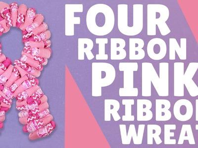 Four Ribbon Pink Ribbon Wreath