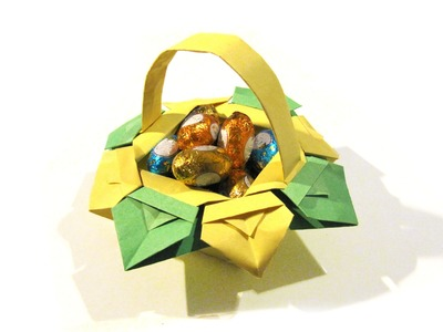 Easter Origami Basket - very easy origami - How to make an origami basket