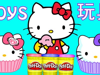 HELLO KITTY TOY EPISODES | Play Doh Coloring Surprise Eggs Doll House Toys