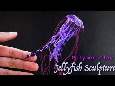 Jellyfish Polymer Clay Sculpture. Watch me Sculpt Time Lapse