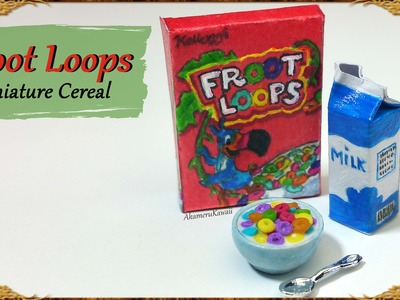 Miniature Froot Loops inspired Cereal & Milk - Polymer Clay.Paper Tutorial
