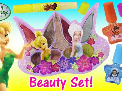 Disney Fairies TINKERBELL Cosmetic Set! Beauty Bag with Lip Gloss Lip Balm Nail Polish! SHOPKINS