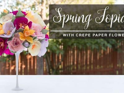 DIY Spring Topiary - Crepe Paper Flowers. Topario de flores Collab. Carte Fini