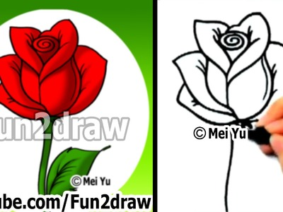 How to Draw an Easy Rose - Drawing Lessons - Learn to Draw - Fun2draw