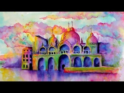 LIVE Watercolor Class. Loose Buildings. Piazza San Marco.Beginner Tutorial