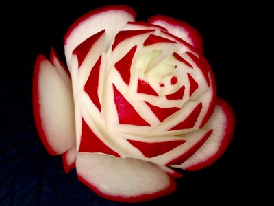 Awesome Red Rose Radish Flower - Beginners Lesson 30 By Mutita Art Of Fruit Vegetable Carving