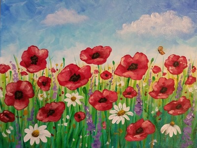 Easy Poppy Field Painting | Time Lapse Acrylic Tutorial | FREE Lesson How to Paint Daisies & Flowers