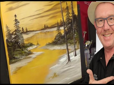Golden Glow | Bob Ross style | Acrylic painting for beginners,#clive5art