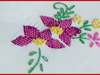 Hand Embroidery Checkered Flower Stitch