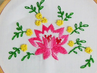 Hand Embroidery: Lotus flower