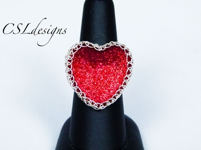 Heart shaped wire wrapped cabochon ring | Valentines