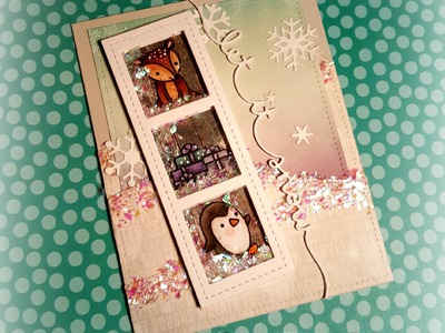 Handmade Holiday 2015: Day 7 ~ Die Cut Shaker Card featuring Lawn Fawn & Pretty Pink Posh