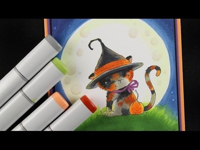 How to color moon light with Copics - Halloween card