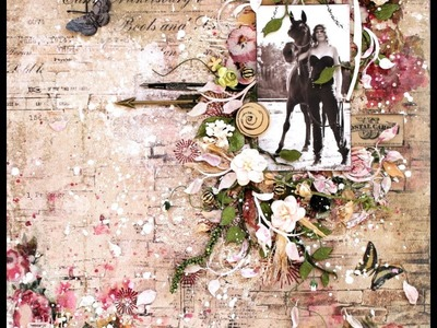 Mixed media layout tutorial by Wilma Voermans . Timeless collection
