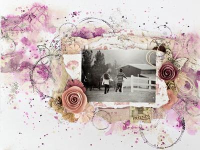 Scraps of Elegance April kit, Captured memories layout. Bo Bunny Garden Journal and Gelatos.