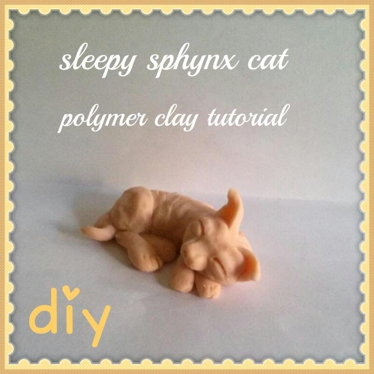 Miniature Sleepy Sphynx Cat-Polymer Clay Tutorial