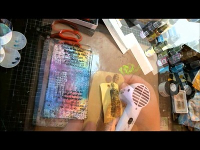 New Art Journal page using many mediums (Acrylic Glazing Liquid with Dylusions spray and much more)