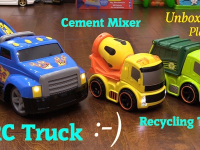 Toy Unboxing: Bruin RC Pick-Up Truck, Cement Mixer and Garbage Toy Trucks for Toddlers and Kids