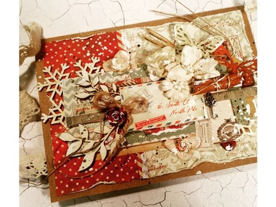 "Virág Réti - Mixed Media Scrapbook Tutorial - #6 - ""Vintage Christmas Card"""