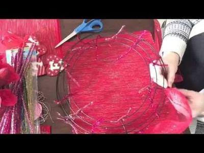 Deco Mesh Valentine's Day Wreath   Dollar Tree