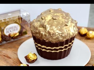 Giant Ferrero Cupcake! Huge Ferrero Rocher Cupcake Recipe | My Cupcake Addiction