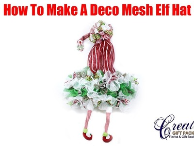 How To Make A Deco Mesh Christmas Elf Hat Wreath
