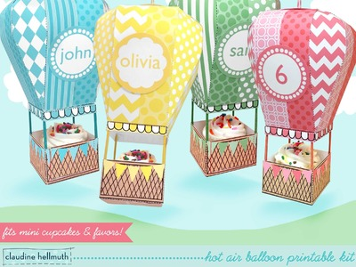 Make a hot air balloon party favor box - holds mini cupcakes too!