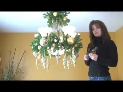Video: How To Decorate A Chandelier. Light Fixture For Christmas! Part 3