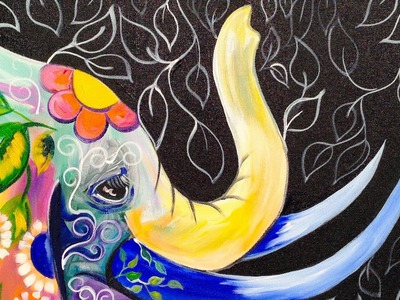 Bohemian Elephant Easy Acrylic Painting for Beginners