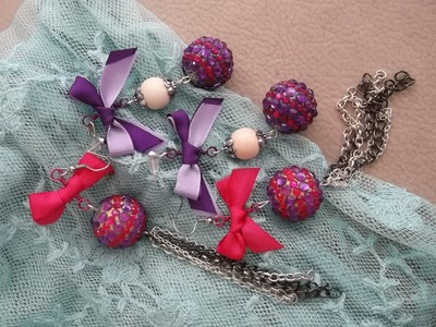 DIY Cute Glam Rock Stud vs Dangle Earrings with Taffeta Bow