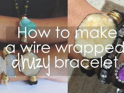 How to make a wire wrapped Druzy bracelet