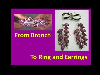 Jewelry Makeover - Brooch to Ring and Earrings - Liz Kreate
