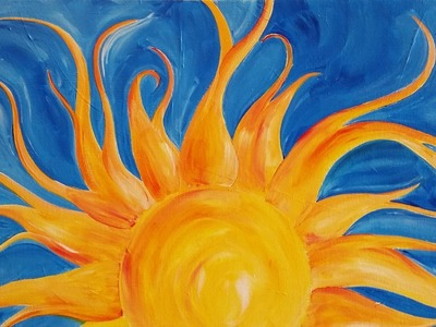 #LoveSpringArt Sunshine Step by Step Acrylic Painting on Canvas for Beginners