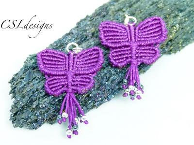 Macrame butterfly earrings