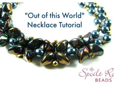 """Out of this world"" necklace with UFO beads and right angle weave"