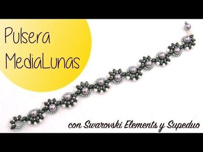 Pulsera MediaLunas con Superduo y Swarovski Elements