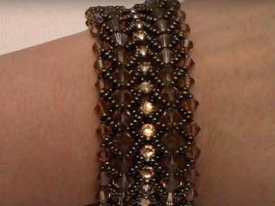 Flat Spiral Stitch Bracelet with Montees