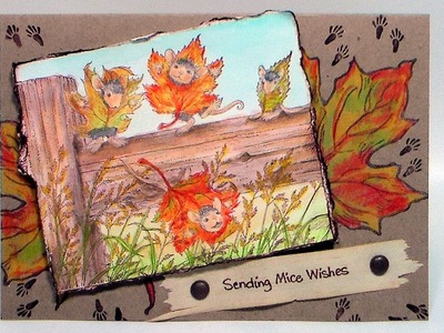 """""""Mice Wishes"""" Mixed Media Coloring House Mouse Card"""