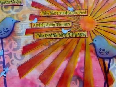 Mixed Media Art Journal Page - Little Bird
