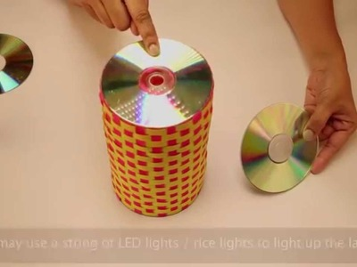 Recycled Lamp With Old CDs
