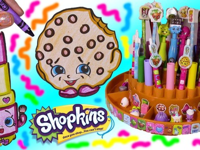 SHOPKINS Pen Pencils & Markers ORGANIZER! Color Kooky Cookie & Lippy Lips! FUN Stickers!