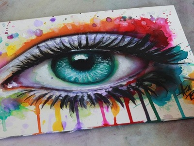 SPEED PAINTING Mixed Media Surreal Abstract Eye Watercolor and Acrylic