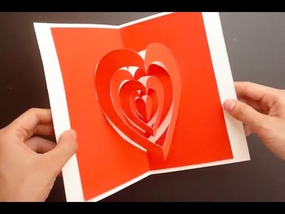 Super Easy Way To Make A Valentine Heart Pop Up Card, Kirigami Love Card Tutoriall