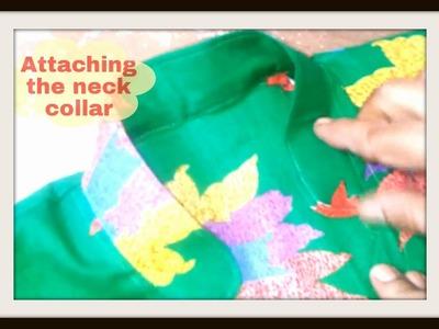 6. Attaching the Neck Collar - ★★Kurti.Kameez with Chinese Collar★★ PUNJABI