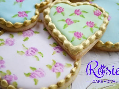 """Cath Kidston"" Style Roses - Edible Painting On Cakes & Cookies Tutorial"