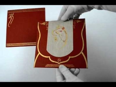 D-1418, Red Color, Handmade Paper, Hindu Cards, Hindu Wedding Cards, Hindu Wedding Invitations
