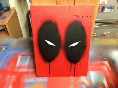 Deadpool stencil and spray paint on canvas!
