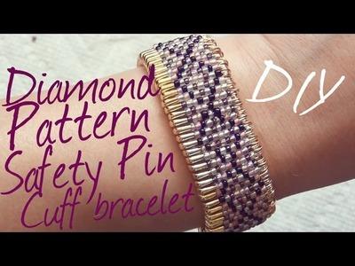 Diamond Pattern ♥ Safety Pin Cuff